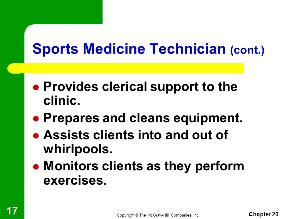 Sports Medicine Technician (cont.)