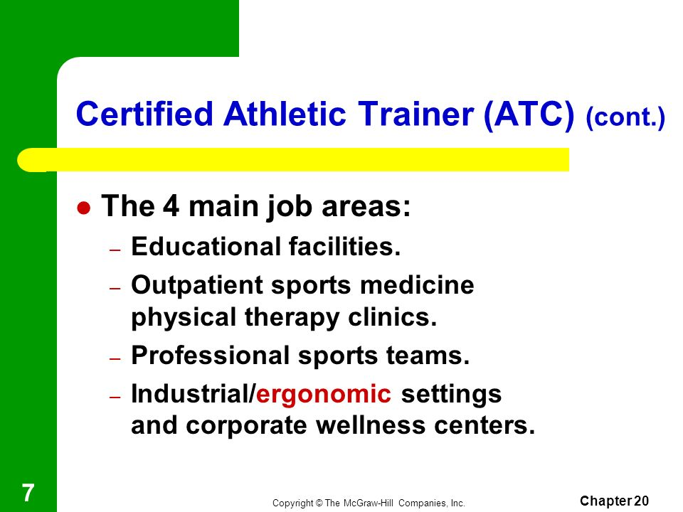 Certified Athletic Trainer (ATC) (cont.)