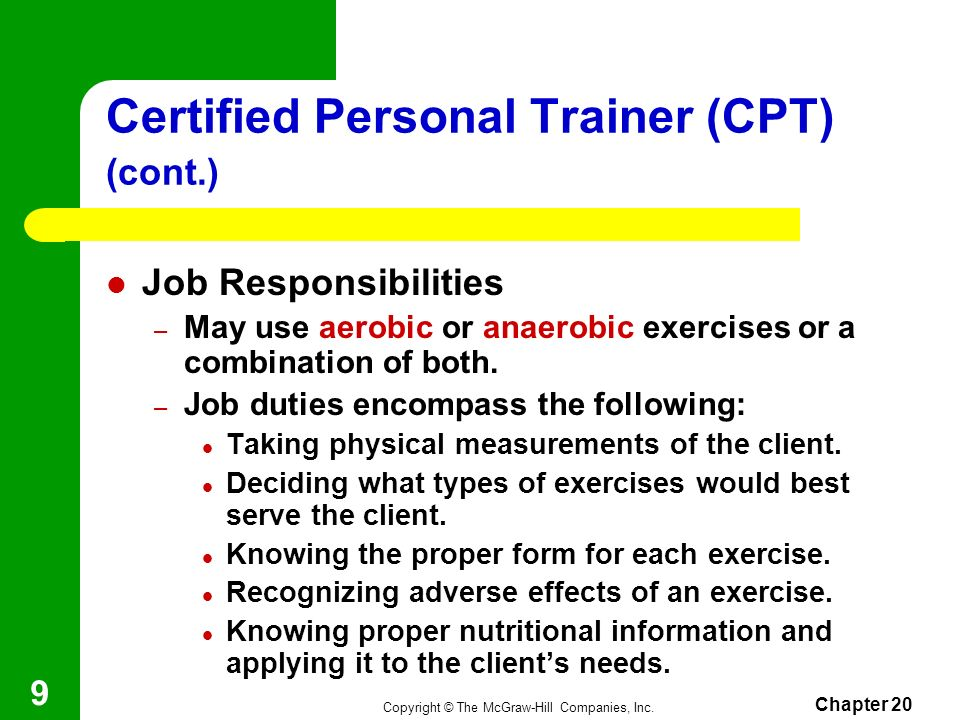 Certified Personal Trainer (CPT) (cont.)