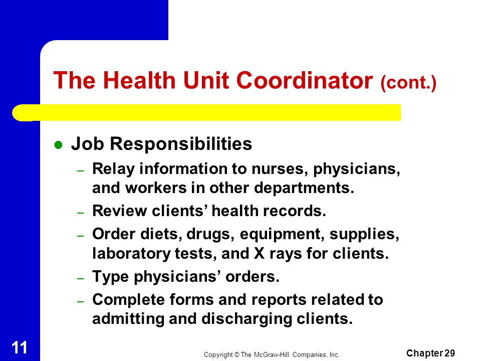 The Health Unit Coordinator (cont.)