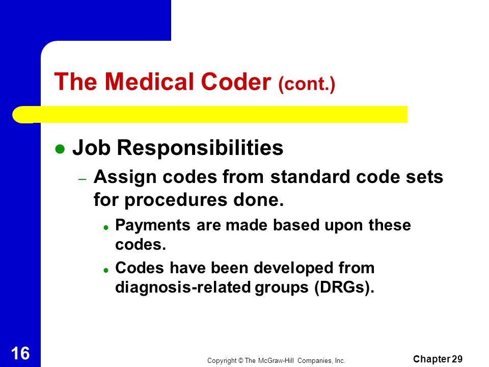 The Medical Coder (cont.)