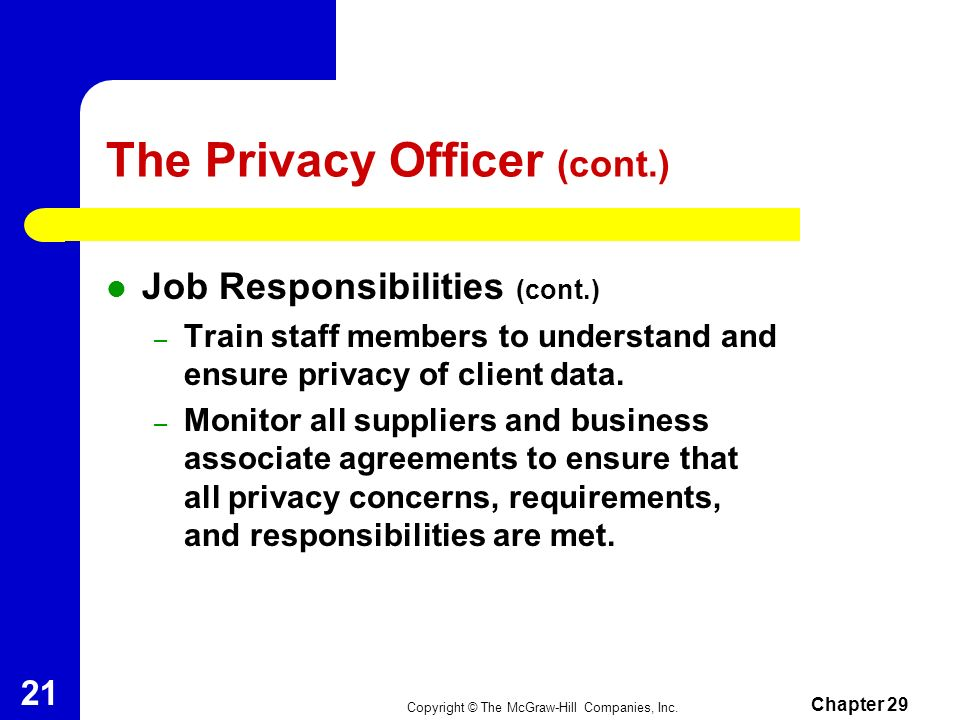 The Privacy Officer (cont.)
