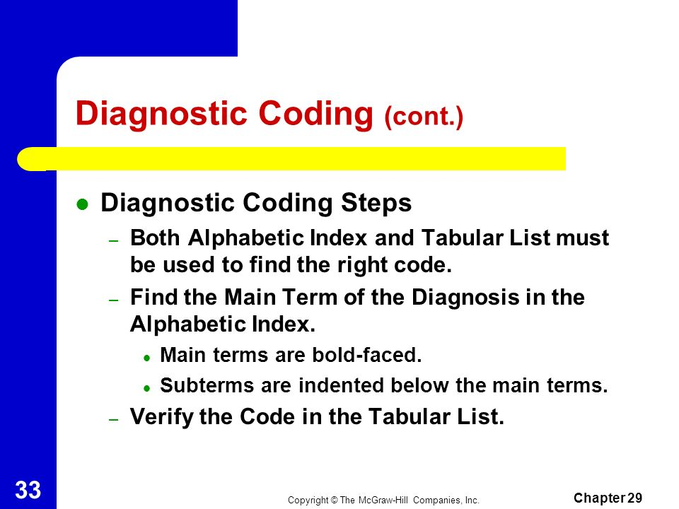 Diagnostic Coding (cont.)