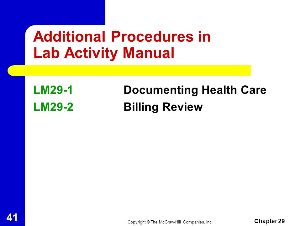 Additional Procedures in Lab Activity Manual