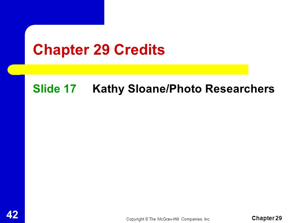 Chapter 29 Credits Slide 17 Kathy Sloane/Photo Researchers Chapter 29