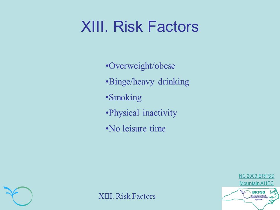 XIII. Risk Factors Overweight/obese Binge/heavy drinking Smoking