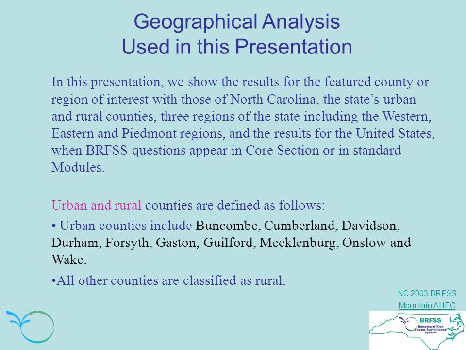 Geographical Analysis Used in this Presentation