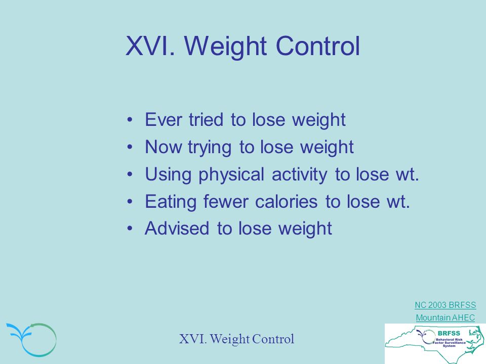 XVI. Weight Control Ever tried to lose weight