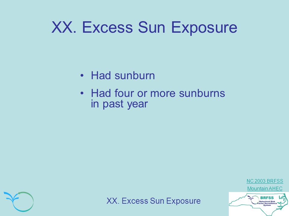 XX. Excess Sun Exposure Had sunburn