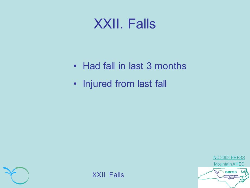 XXII. Falls Had fall in last 3 months Injured from last fall