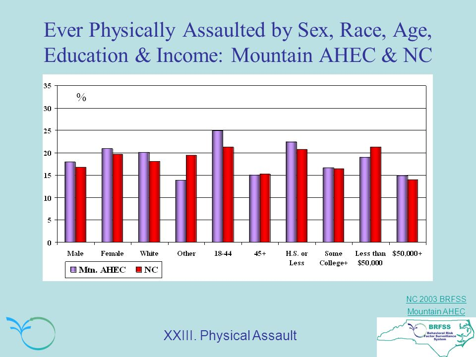 Ever Physically Assaulted by Sex, Race, Age, Education & Income: Mountain AHEC & NC