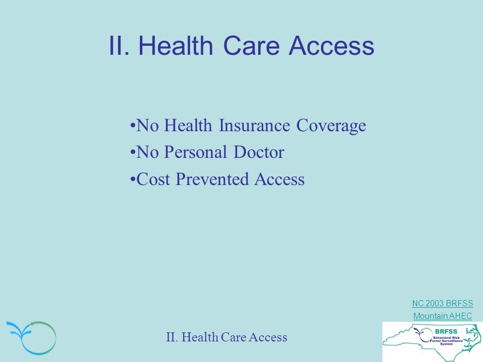 II. Health Care Access No Health Insurance Coverage No Personal Doctor