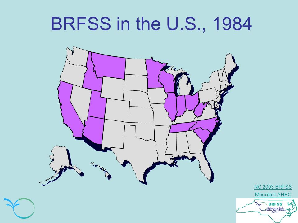 BRFSS in the U.S., 1984 In 1984, 14 states including North Carolina participated in the BRFSS