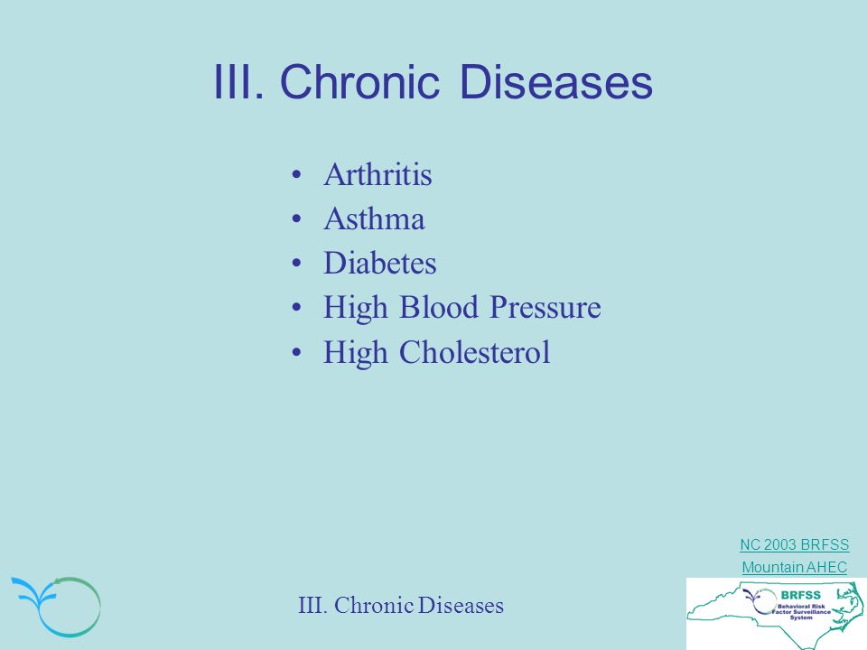 III. Chronic Diseases Arthritis Asthma Diabetes High Blood Pressure