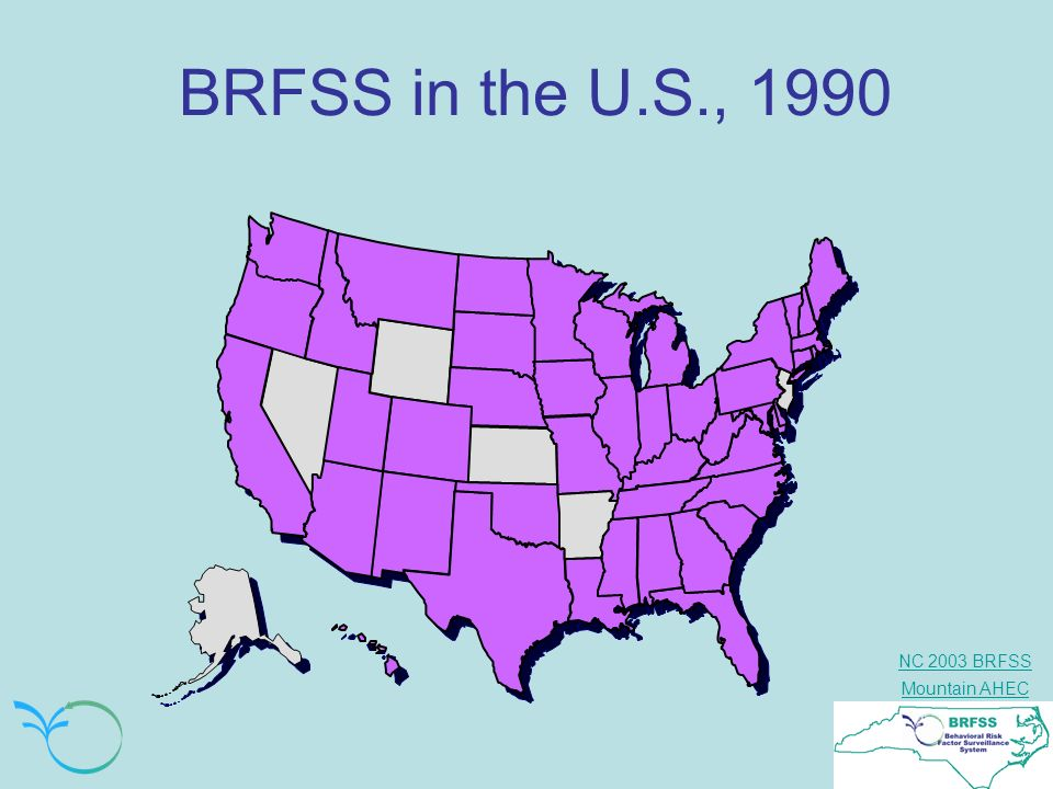 BRFSS in the U.S., 1990 In 1990, all but six states were part of the BRFSS Surveillance Program.