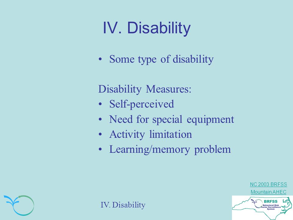 IV. Disability Some type of disability Disability Measures: