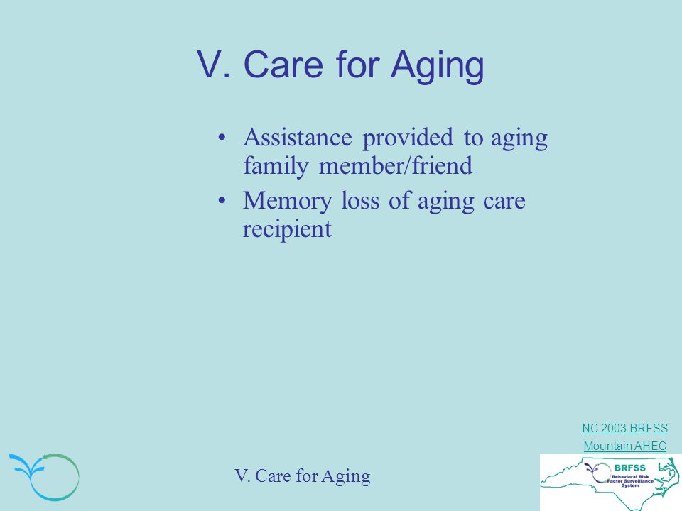 V. Care for Aging Assistance provided to aging family member/friend