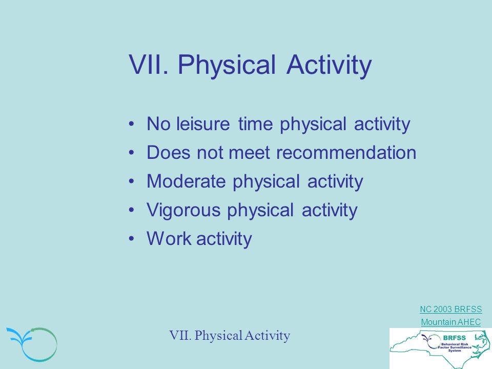 VII. Physical Activity No leisure time physical activity