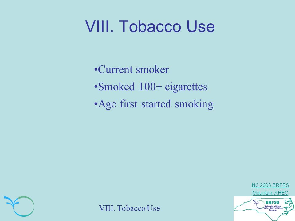 VIII. Tobacco Use Current smoker Smoked 100+ cigarettes