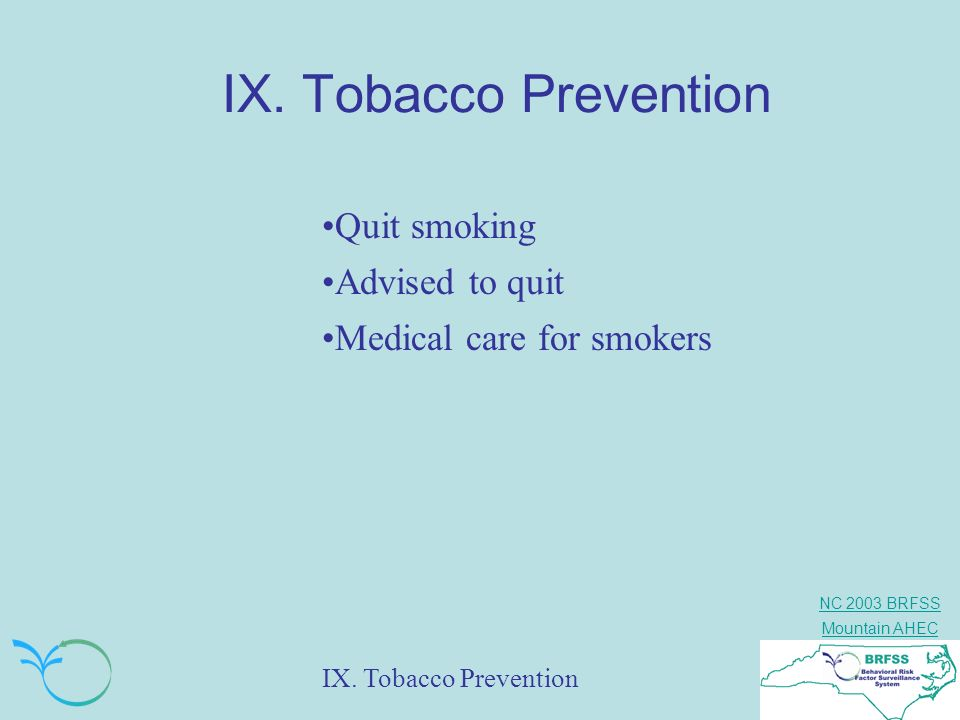 IX. Tobacco Prevention Quit smoking Advised to quit