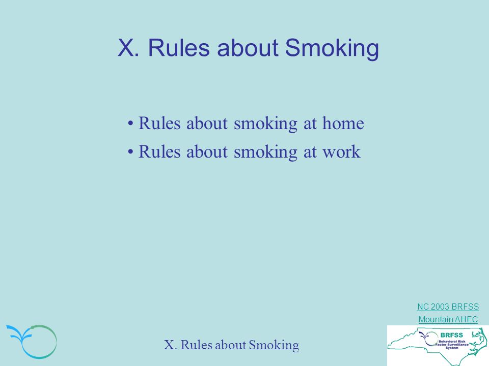 X. Rules about Smoking Rules about smoking at home