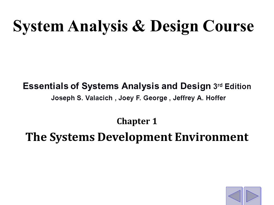Essentials Of Systems Analysis Design Chapter