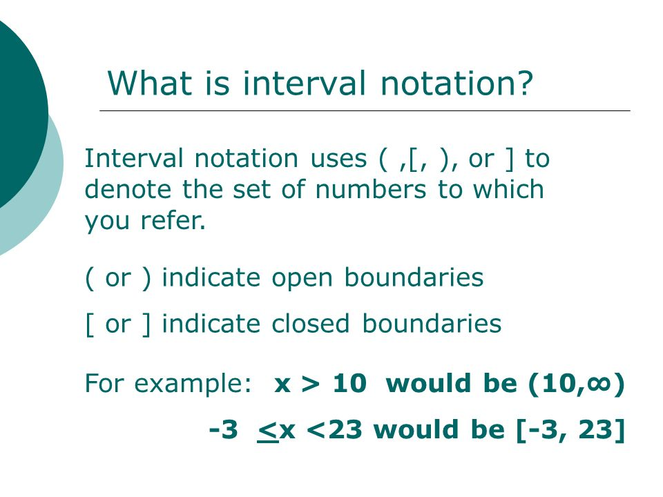 What is interval notation