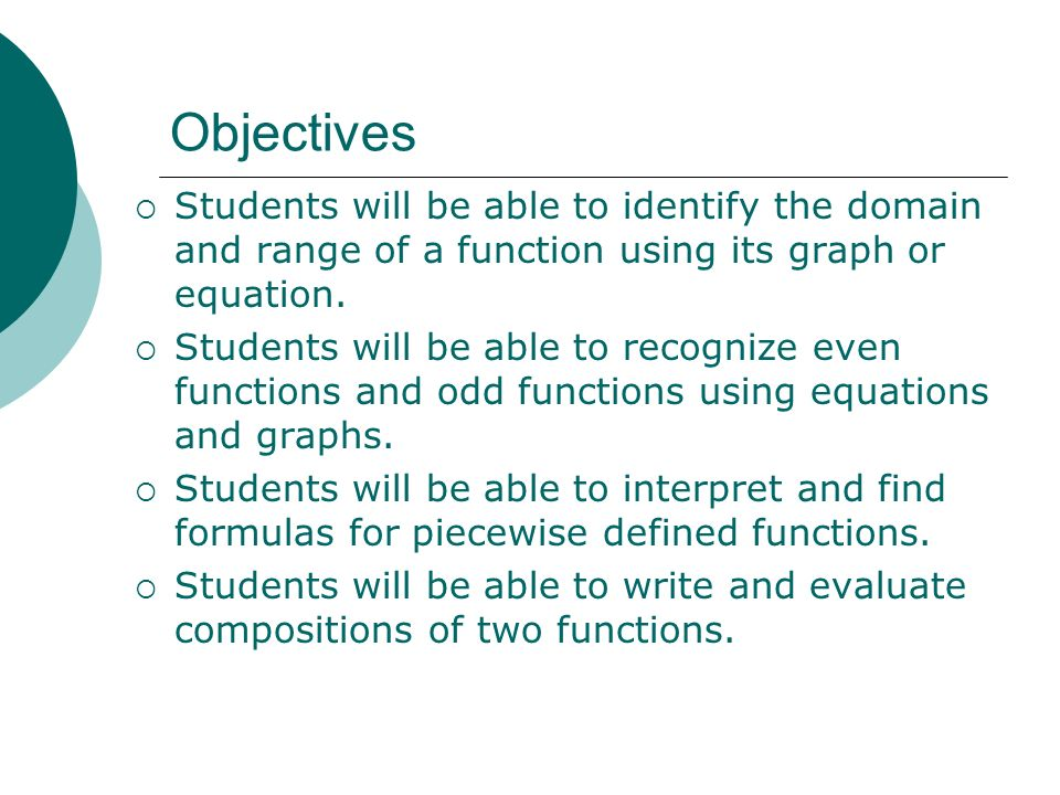 Objectives Students will be able to identify the domain and range of a function using its graph or equation.