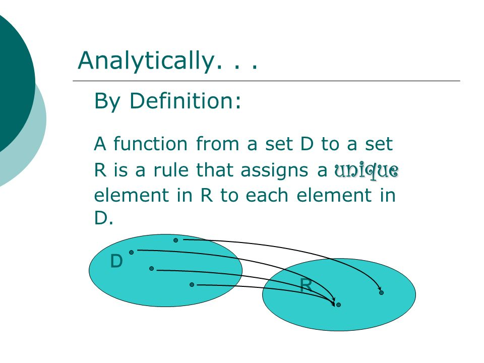 Analytically. . . By Definition: