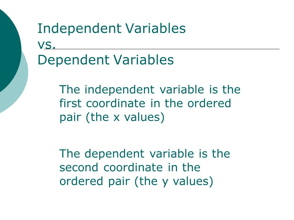 Independent Variables vs. Dependent Variables