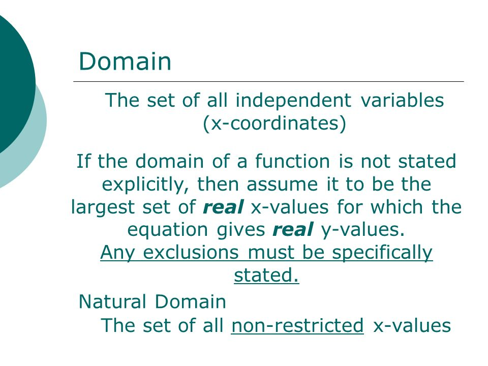Domain The set of all independent variables (x-coordinates)