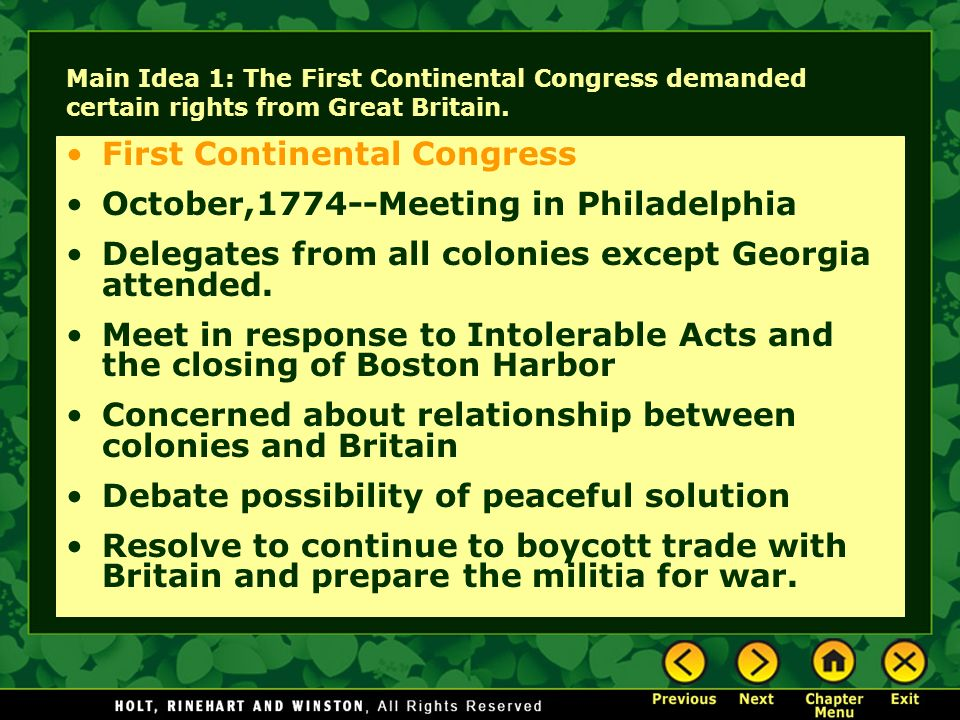 First Continental Congress October,1774--Meeting in Philadelphia