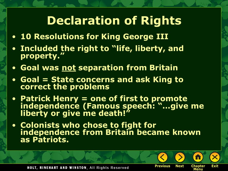 Declaration of Rights 10 Resolutions for King George III