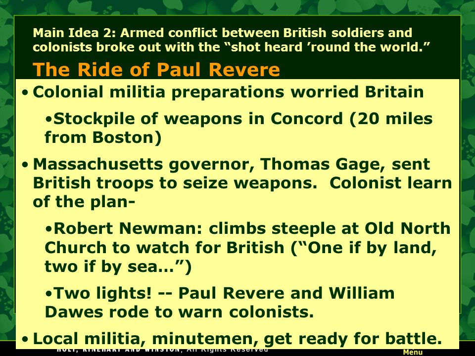 The Ride of Paul Revere Colonial militia preparations worried Britain
