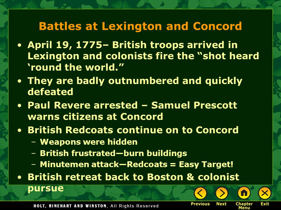 Battles at Lexington and Concord