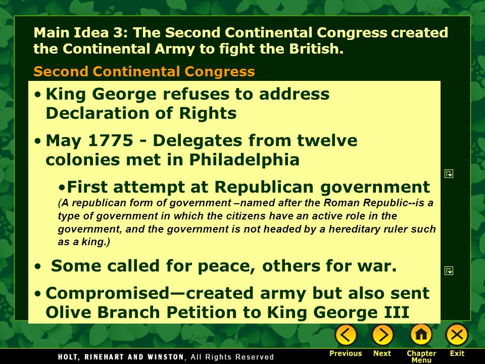 King George refuses to address Declaration of Rights