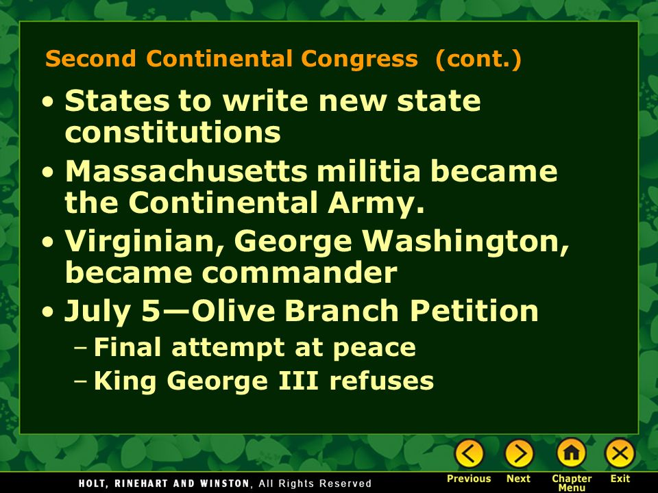 Second Continental Congress (cont.)