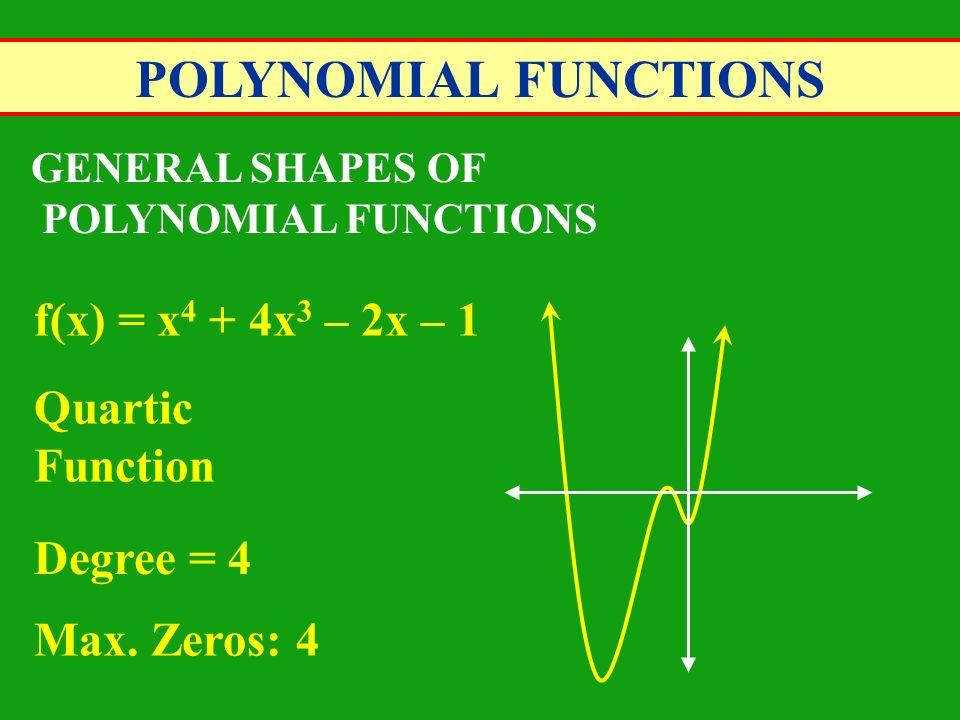 POLYNOMIAL FUNCTIONS f(x) = x4 + 4x3 – 2x – 1 Quartic Function