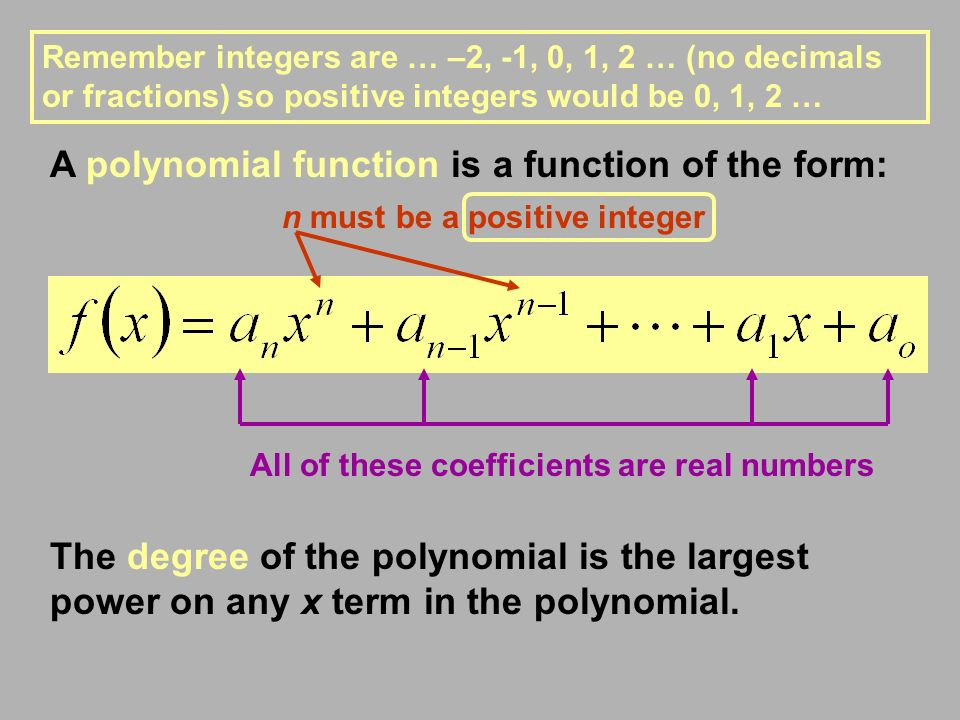 A polynomial function is a function of the form: