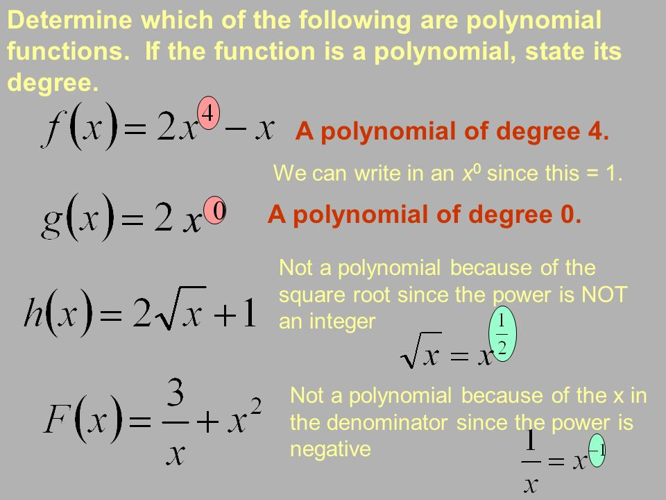 Determine which of the following are polynomial functions