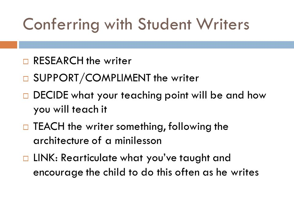 Conferring with Student Writers