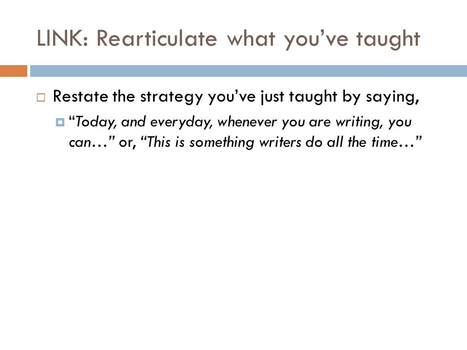 LINK: Rearticulate what you've taught