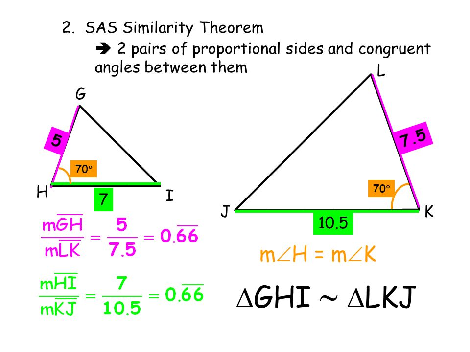 GHI  LKJ mH = mK 2. SAS Similarity Theorem