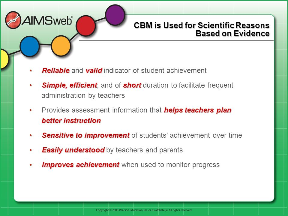 CBM is Used for Scientific Reasons Based on Evidence