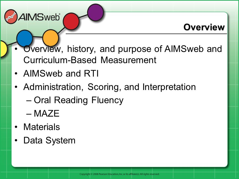 Overview Overview, history, and purpose of AIMSweb and Curriculum-Based Measurement. AIMSweb and RTI.