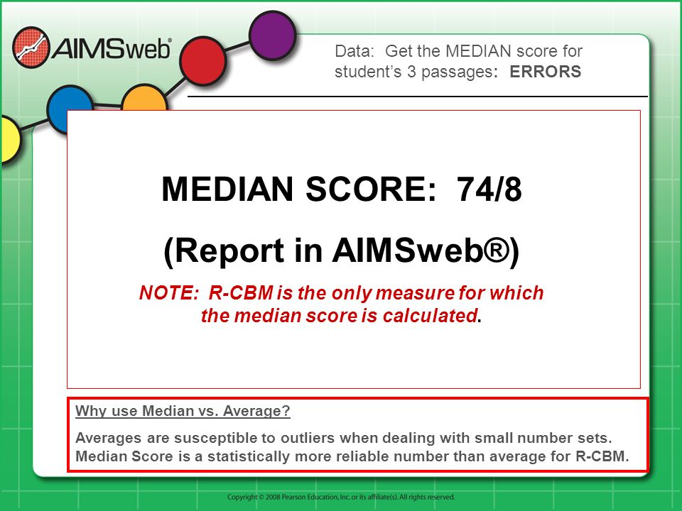 MEDIAN SCORE: 74/8 (Report in AIMSweb®)