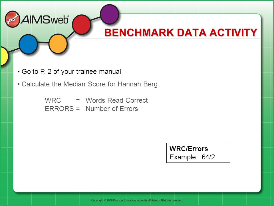 BENCHMARK DATA ACTIVITY