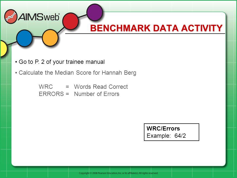 BENCHMARK DATA ACTIVITY