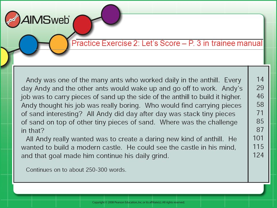 Practice Exercise 2: Let's Score – P. 3 in trainee manual