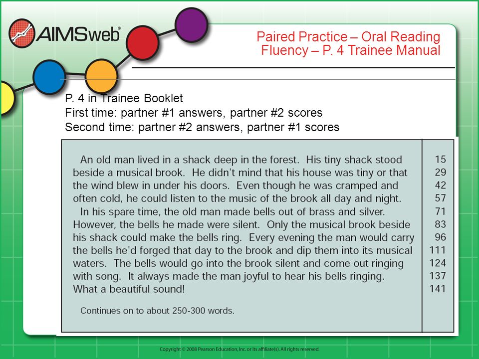 Paired Practice – Oral Reading Fluency – P. 4 Trainee Manual